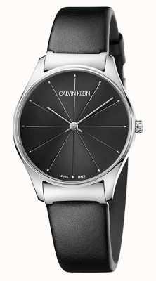 Calvin Klein Correia de couro preto clássico das senhoras K4D221CY