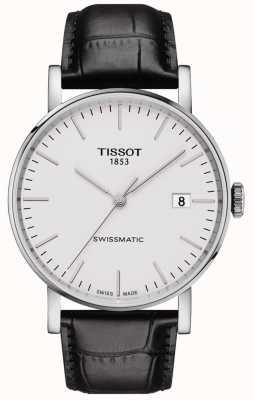 Tissot Mens toda vez swissmatic pulseira de couro preto automático T1094071603100