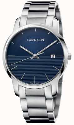 Calvin Klein Pulseira de aço inoxidável cidade azul K2G2G14Q