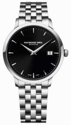 Raymond Weil Mostrador preto de aço inoxidável toccata 5488-ST-20001