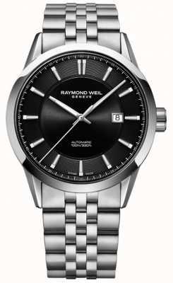Raymond Weil Mens pulseira de aço inoxidável automático freelancer 2731-ST-20001
