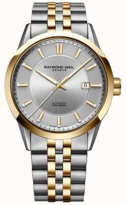 Raymond Weil Mens freelancer pulseira automática de dois tons com mostrador prateado 2731-STP-65001