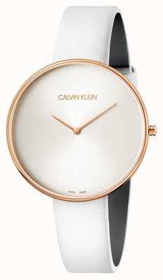 Calvin Klein Relógio de pulso de senhora em couro branco de lua cheia K8Y236L6