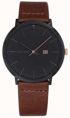 Tommy Hilfiger Mens james assistir pulseira de couro marrom mostrador cinza escuro 1791461