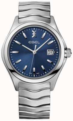 EBEL Mostrador masculino azul onda pulseira de exibição de data em aço inoxidável 1216238