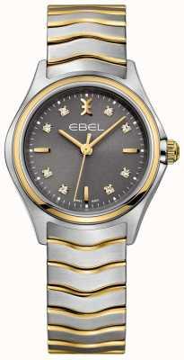 EBEL Diamante onda das mulheres conjunto de dois tons de pulseira de discagem cinza 1216283