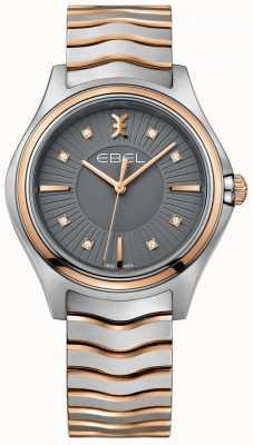 EBEL Pulseira de metal de onda de diamante feminino cinza dial pulseira de dois tons 1216309