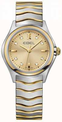 EBEL Champanhe diamante das mulheres discar dois tons de ouro amarelo e prata 1216317