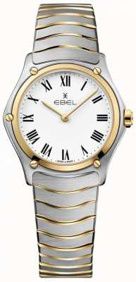 EBEL Esporte das mulheres clássico mostrador branco dois tons pulseira inoxidável 1216387A