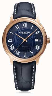 Raymond Weil Mens maestro automático pulseira de couro azul azul dial 2237-PC5-00508