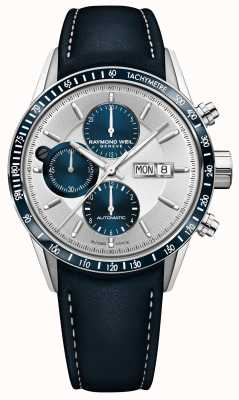 Raymond Weil Mens freelancer automático cronógrafo pulseira de couro azul 7731-SC3-65521