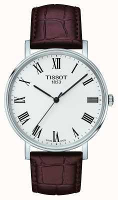 Tissot Mens em qualquer momento pulseira de couro marrom médio branco T1094101603300
