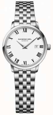 Raymond Weil Pulseira de aço inoxidável das mulheres toccata branco 5988-ST-00300