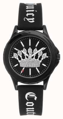 Juicy Couture Relógio de pulseira de silicone preto para mulher JC-1001BKBK