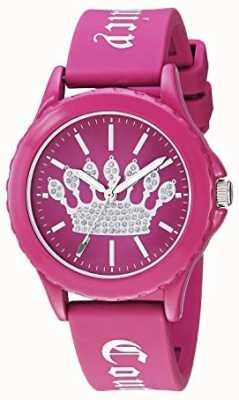 Juicy Couture Pulseira de silicone rosa das mulheres assistir mostrador coroa rosa JC-1001HPHP