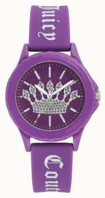 Juicy Couture Relógio de pulseira de silicone roxo das mulheres discagem coroa roxa JC-1001PRPR