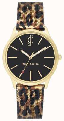 Juicy Couture Womens leopardo pulseira de couro preto mostrador do relógio JC-1014GPLE