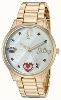 Juicy Couture Relógio de pulseira de aço de tom de ouro das mulheres com marcadores coloridos JC-1016MPGB