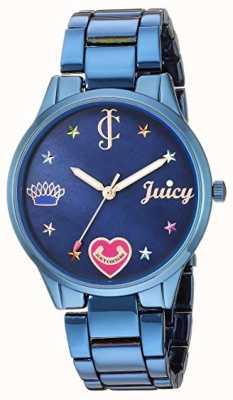 Juicy Couture Pulseira de aço azul para mulher | marcadores coloridos | mostrador azul JC-1017BMBL