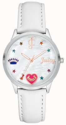 Juicy Couture Relógio de pulseira de silcone branco das mulheres com marcadores coloridos JC-1019WTWT