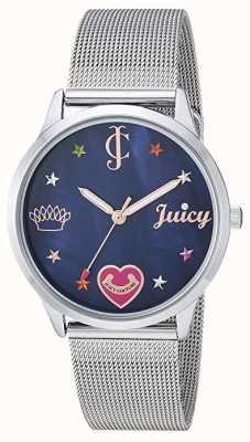 Juicy Couture Pulseira de malha de prata para mulher | marcadores coloridos | mostrador azul JC-1025BMSV