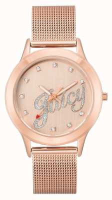 Juicy Couture Relógio de roteiro suculento de pulseira de malha de ouro rosa das mulheres JC-1032RGRG