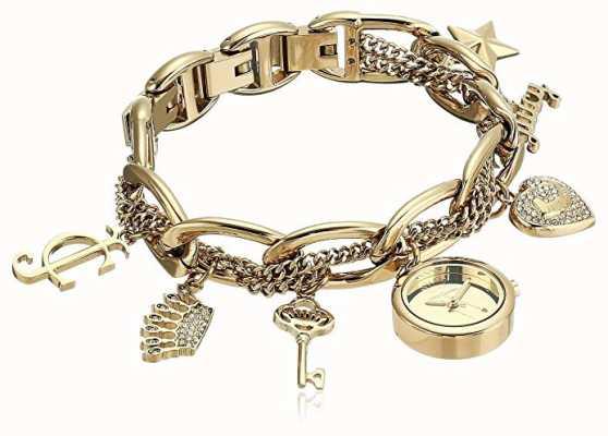 Juicy Couture Relógio de pulseira de charme de aço inoxidável de tom de ouro das mulheres JC-1040GPCH
