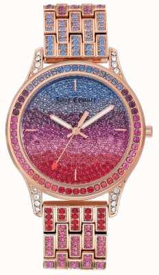 Juicy Couture Womens glitter watch com pulseira de aço rosa em tom de ouro JC-1044MTRG
