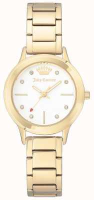 Juicy Couture Mostrador branco pulseira de aço inoxidável de tom de ouro das mulheres JC-1050WTGB