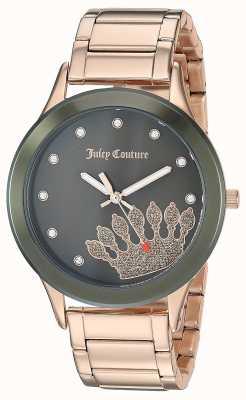 Juicy Couture (sem caixa) aço inoxidável ouro rosa para mulher | mostrador preto JC-1052OLRG