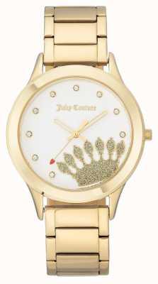 Juicy Couture Dial e pulseira de coroa de tom de ouro das mulheres JC-1052WTGB