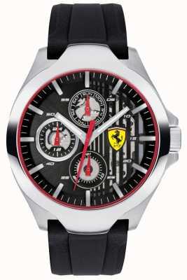 79ae761f542 Scuderia Ferrari Mens preto cronógrafo dial pulseira de borracha preta  0830510