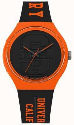 Superdry Urban xl time do colégio matt black dial pulseira preta laranja SYG240BO