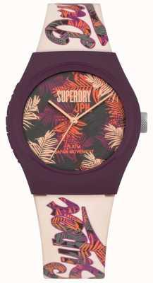 Superdry Urbano tropicana roxa e rosa folha impressão dial pulseira branca SYL247PV