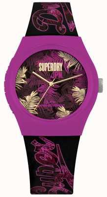 Superdry Urbano tropicana roxa e rosa folha de impressão mostrador pulseira roxa SYL247BP