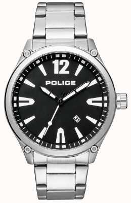 Police Mens pulseira de aço inoxidável estilo inteligente mostrador preto 15244JBS/02M