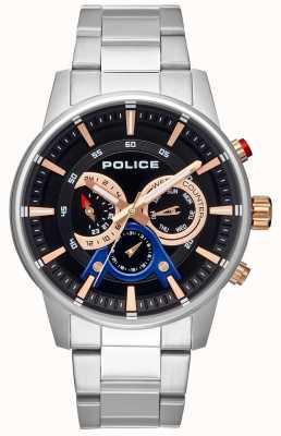 Police Mens pulseira de aço inoxidável estilo inteligente mostrador preto PL.15523JS/02M