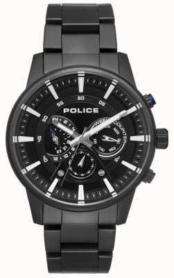 Police Mens pulseira preta de estilo inteligente, mostrador preto PL.15523JSB/02M