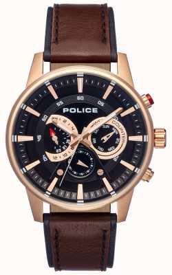 Police Mens estilo inteligente pulseira de couro marrom mostrador preto PL.15523JSR/02