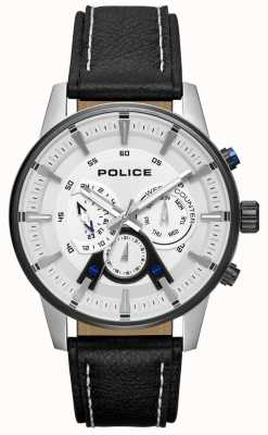 Police Mens estilo inteligente pulseira de couro preto mostrador prateado PL.15523JSTB/04