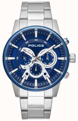 Police Mens pulseira de aço inoxidável estilo inteligente pulseira azul PL.15523JSTBL/03M