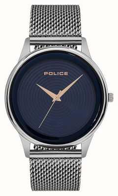 Police Mens smart estilo pulseira de malha de aço inoxidável azul discagem PL.15524JS/03MM
