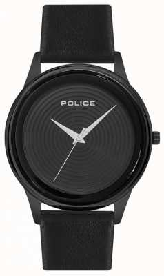 Police Mens estilo inteligente pulseira de couro preto mostrador preto PL.15524JSB/02