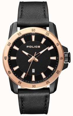 Police Mens estilo inteligente pulseira de couro preto mostrador preto PL.15526JSBR/02