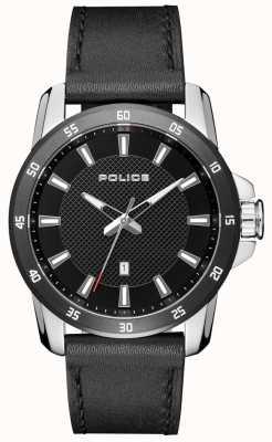 Police Mens estilo inteligente pulseira de couro preto mostrador preto PL.15526JSTB/02