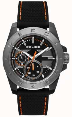 Police Mostrador preto estilo urbano preto pulseira de silicone PL.15527JSBU/02P