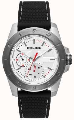 Police Mostrador prateado de cinta de silicone preto estilo urbano PL.15527JSTU/04P