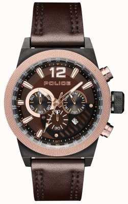 Police Mostrador castanho de couro marrom estilo urbano marrom PL.15529JSBBN/12
