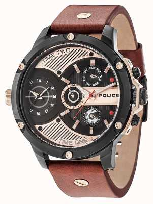 Police Mens rebelde estilo 2 tom pulseira de silicone mostrador preto PL.15049JSB/02p