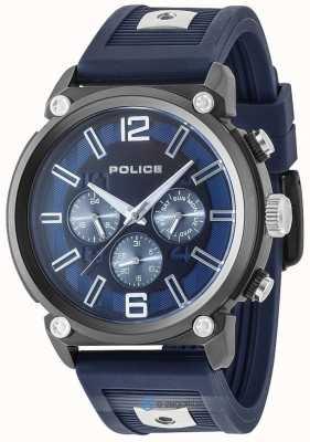 Police Mens rebelde estilo 2 tom de silicone pulseira de discagem azul PL.15049JSU/03P